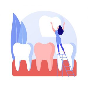 Visualization of replacing a dental crown